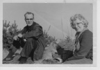 Arthur and Olive Brown with Suki the pekinese at Woodberry Hill, Herefordshire,
